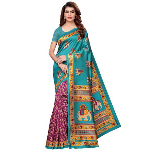 Innovative Rama Green-Pink Colored Casual Printed Art Silk Saree
