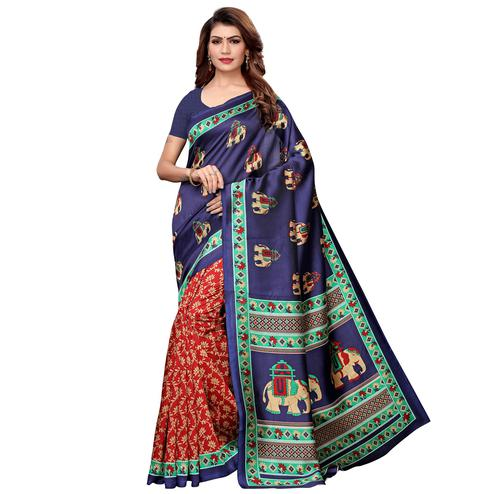 Eye-catching Navy Blue-Red Colored Casual Printed Art Silk Saree