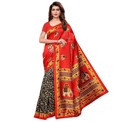 Fantastic Red-Black Colored Casual Printed Art Silk Saree
