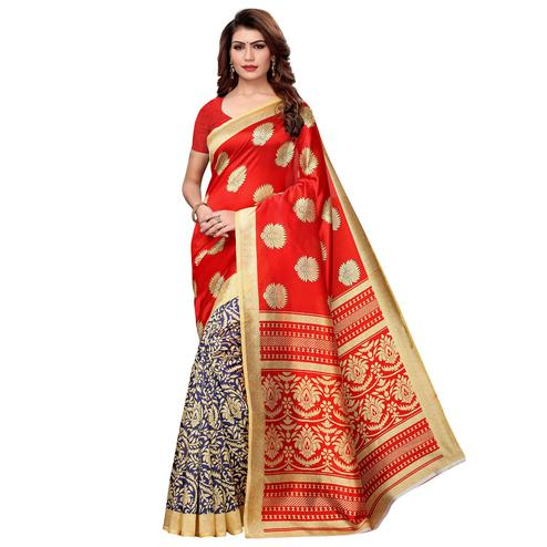 Amazing Red-Navy Blue Colored Casual Printed Art Silk Saree