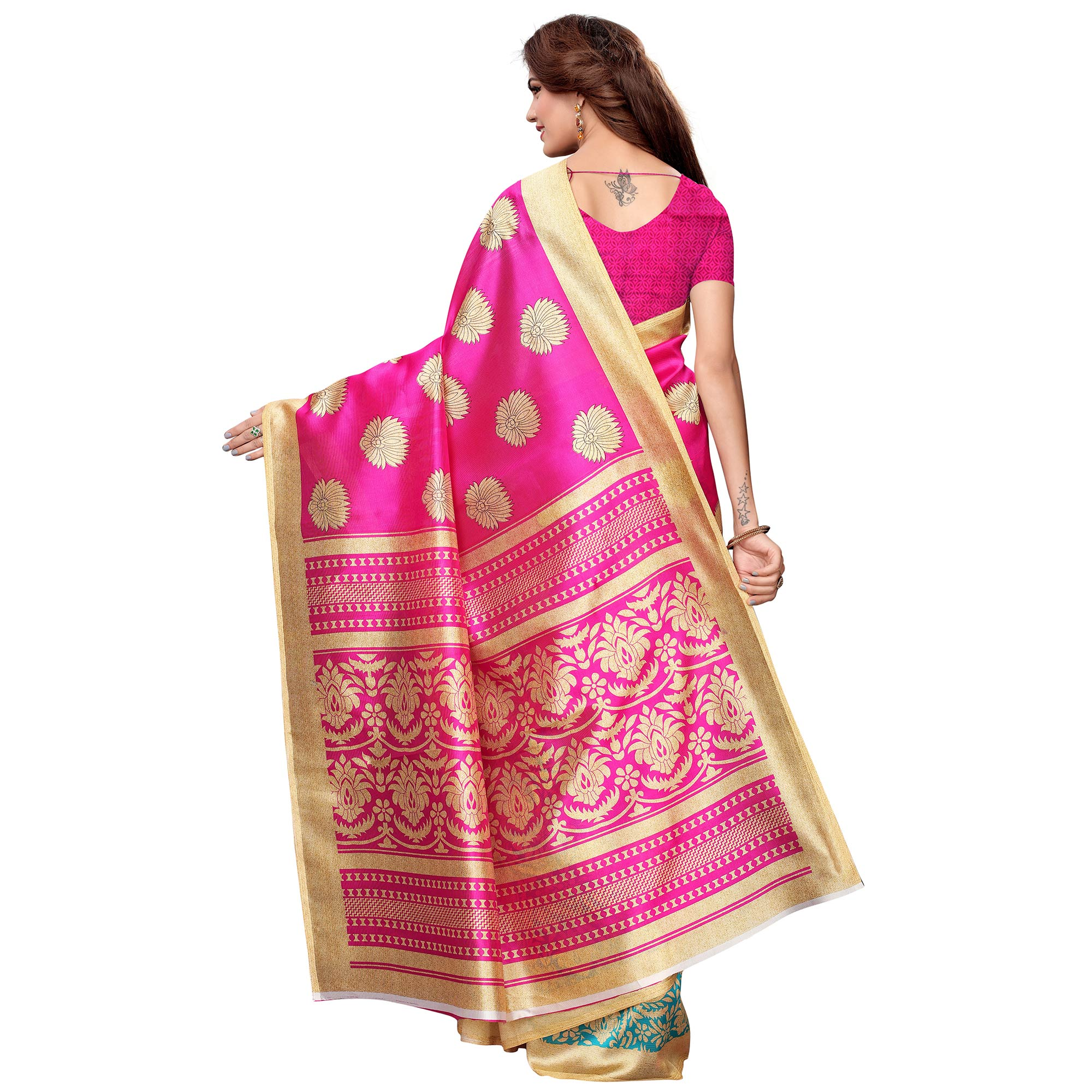 Gorgeous Pink-Blue Colored Casual Printed Art Silk Saree