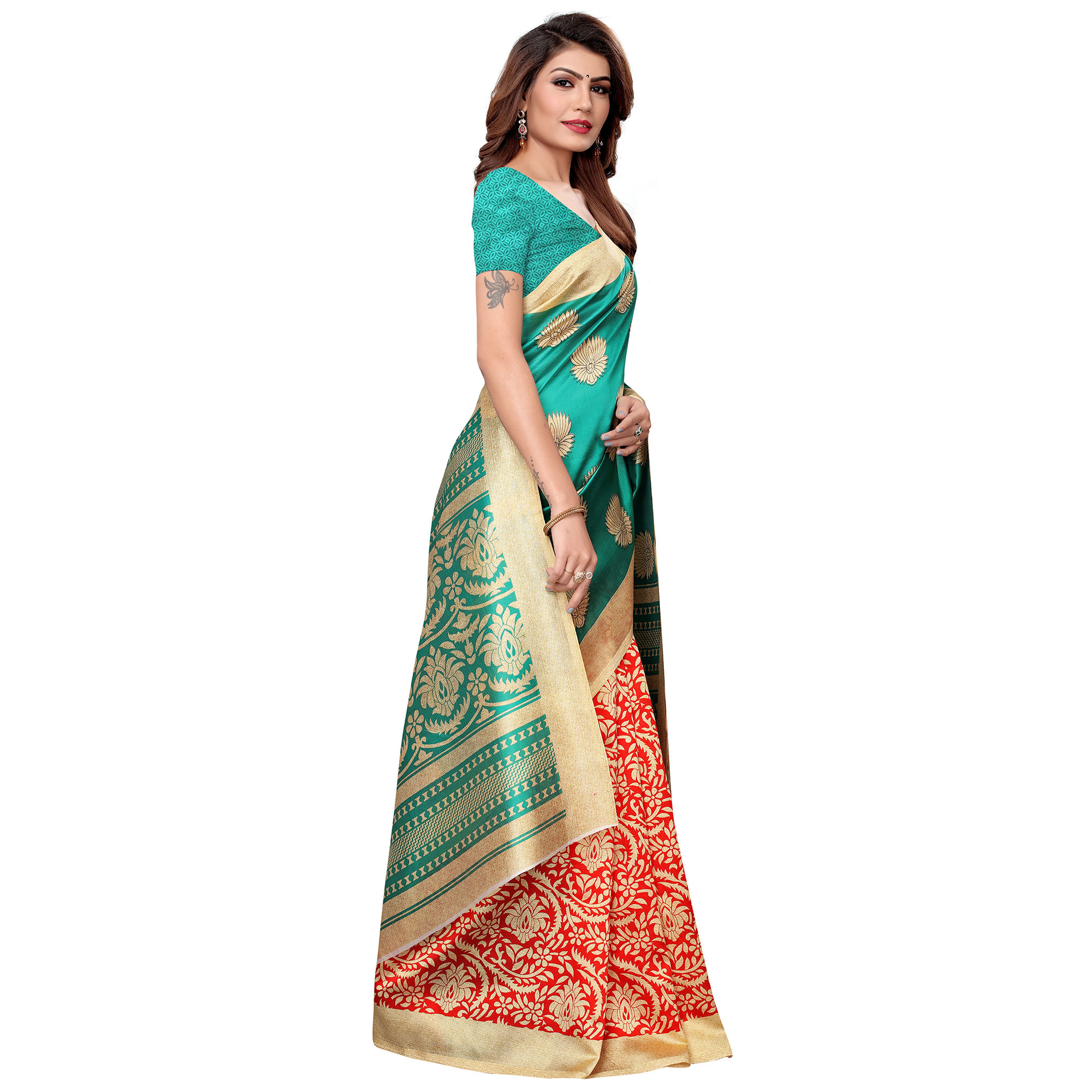 Blissful Turquoise Green-Red Colored Casual Printed Art Silk Saree