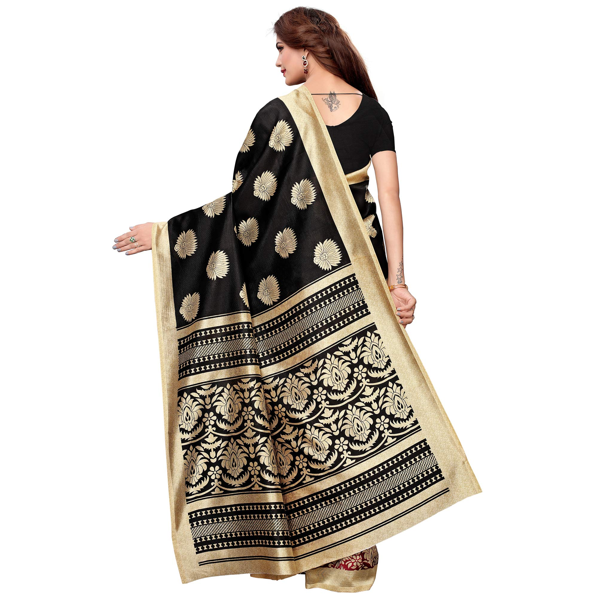 Ideal Black-Maroon Colored Casual Printed Art Silk Saree