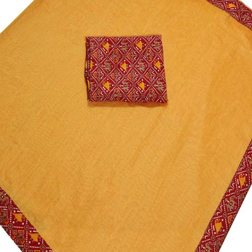 Graceful Light Orange Colored Casual Wear Chanderi Silk Saree