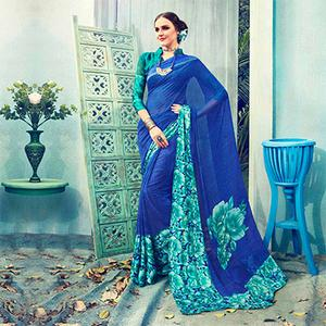 Blue Floral Printed Georgette Saree