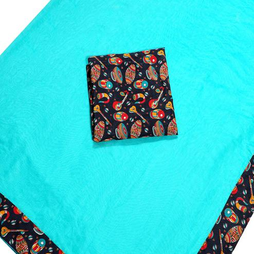 Delightful Sky Blue Colored Casual Wear Chanderi Silk Saree