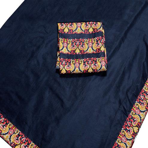 Amazing Navy Blue Colored Casual Wear Chanderi Silk Saree