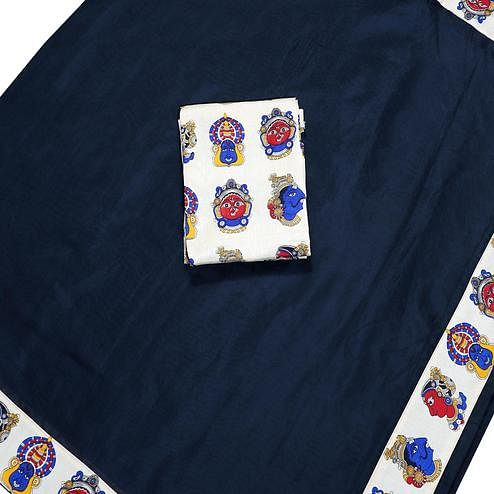 Gleaming Navy Blue Colored Casual Wear Chanderi Silk Saree
