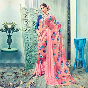 Shaded Peach Floral Printed Georgette Saree