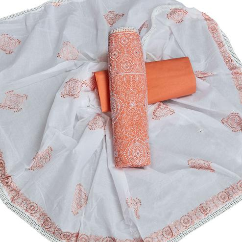 Fantastic Orange Colored Partywear Embroidered Cotton Dress Material