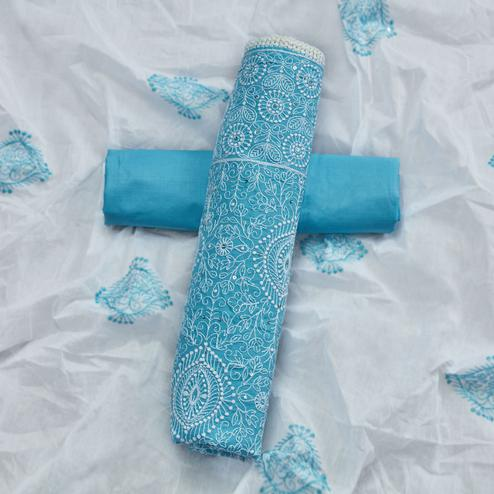 Blissful Sky Blue Colored Partywear Embroidered Cotton Dress Material