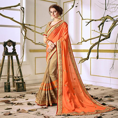 Orange-Beige Designer Partywear Embroidered Georgette Saree