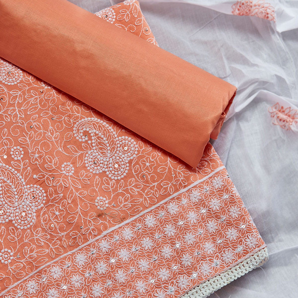 Majesty Orange Colored Partywear Embroidered Cotton Dress Material