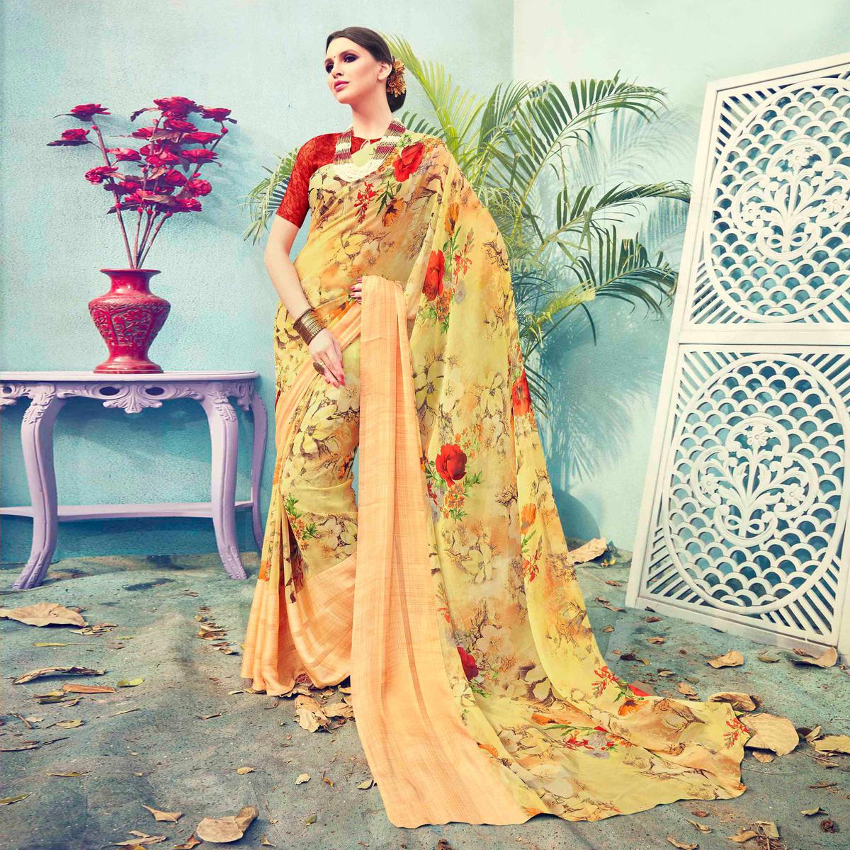 Yellow Floral Printed Georgette Saree