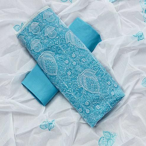 Ethnic Sky Blue Colored Partywear Embroidered Cotton Dress Material