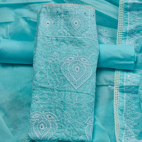 Trendy Sky Blue Colored Partywear Embroidered Cotton Dress Material