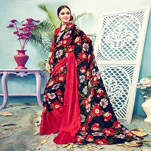 Black - Red Floral Printed Georgette Saree