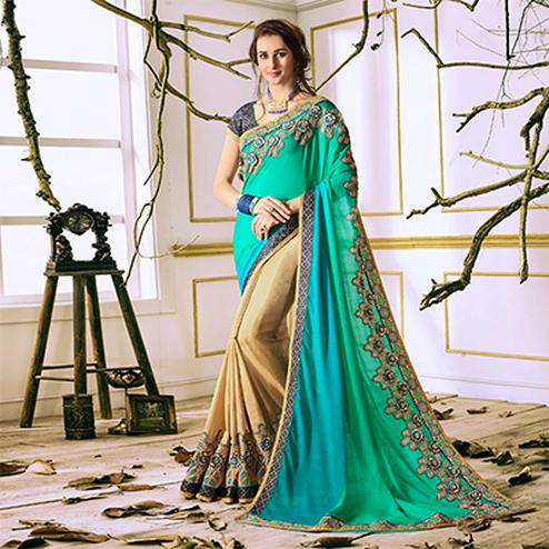 Green-Beige Designer Partywear Embroidered Georgette Saree