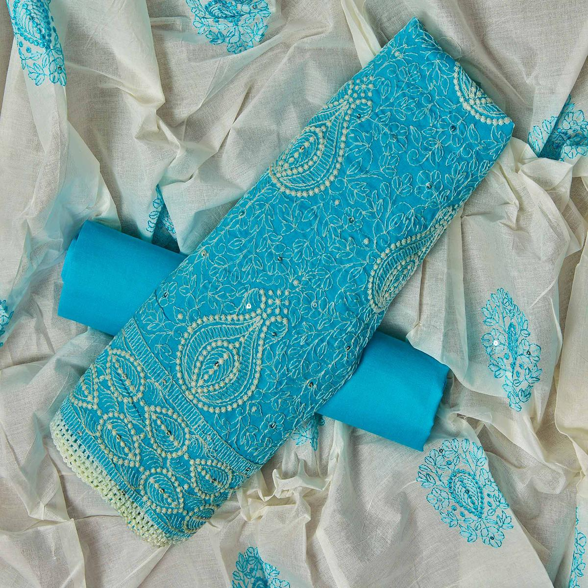 Sensational Sky Blue Colored Partywear Embroidered Cotton Dress Material