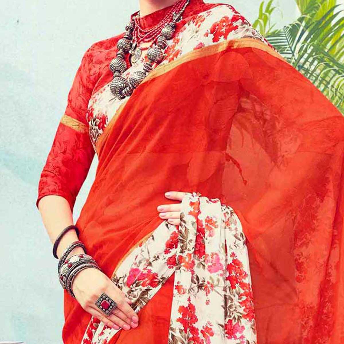 Dark Orange Floral Printed Georgette Saree