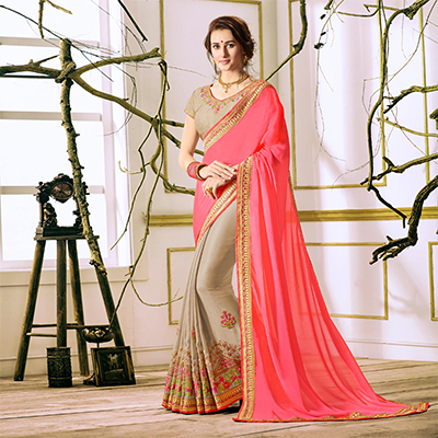 Pink-Beige Designer Partywear Embroidered Georgette Saree