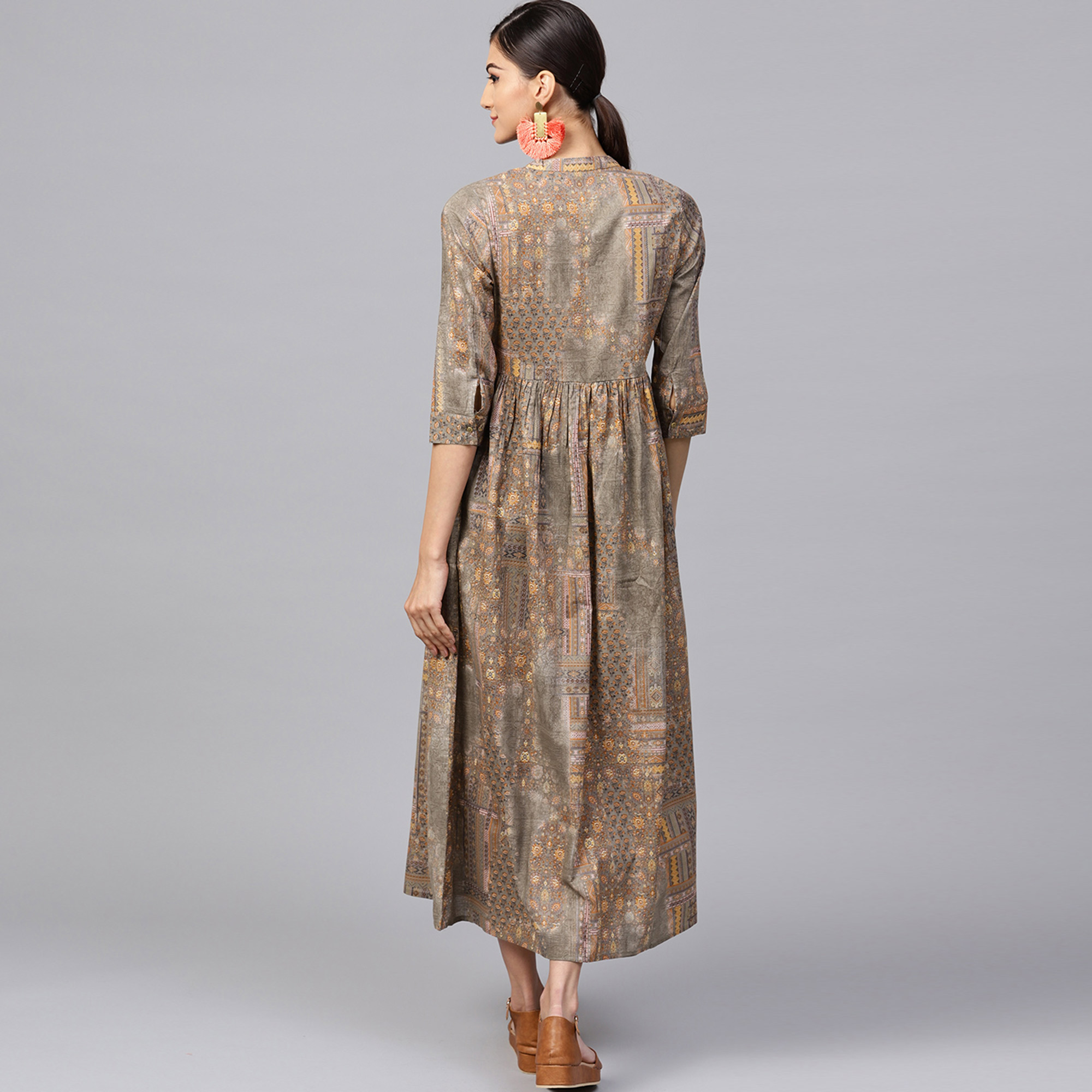 Trendy Pastel Brown Colored Casual Printed Cotton Kurti