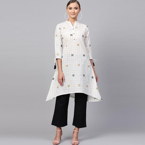 Energetic White Colored Casual Printed Cotton Kurti