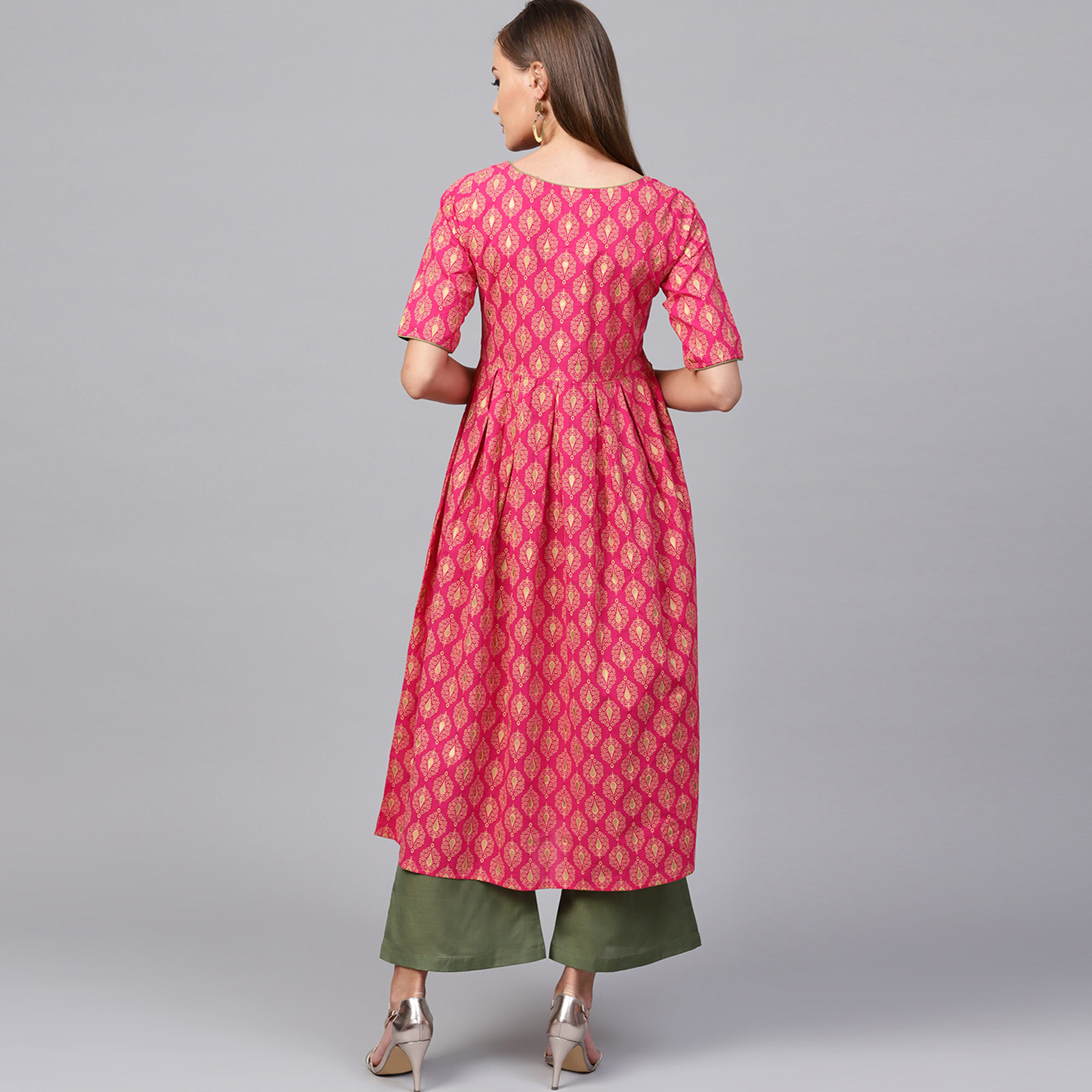 Hypnotic Pink Colored Casual Printed Cotton Kurti