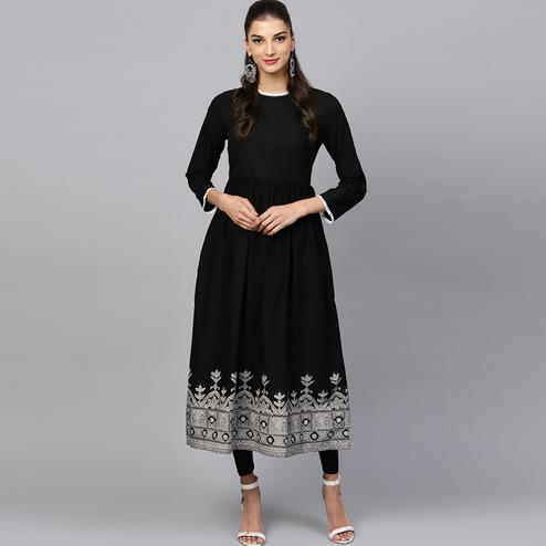Marvellous Black Colored Casual Printed Cotton Kurti