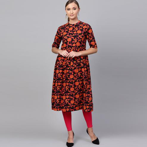 Flamboyant Black-Multi Colored Casual Printed Cotton Kurti