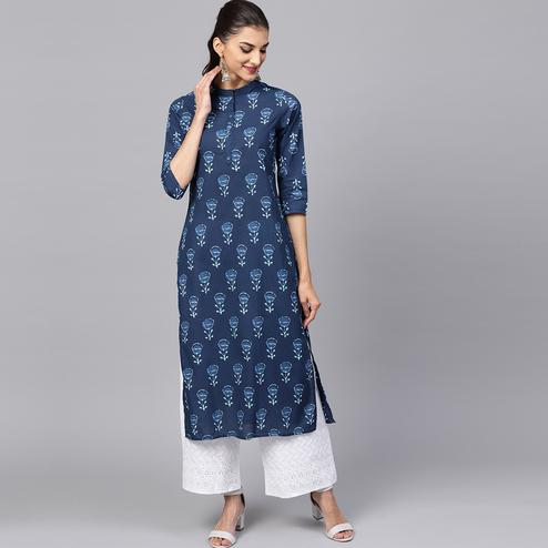 Appealing Navy Blue Colored Casual Printed Cotton Kurti