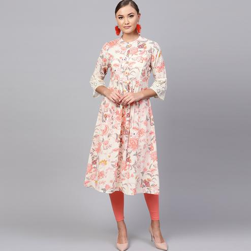 Capricious Off White Colored Casual Printed Cotton Kurti