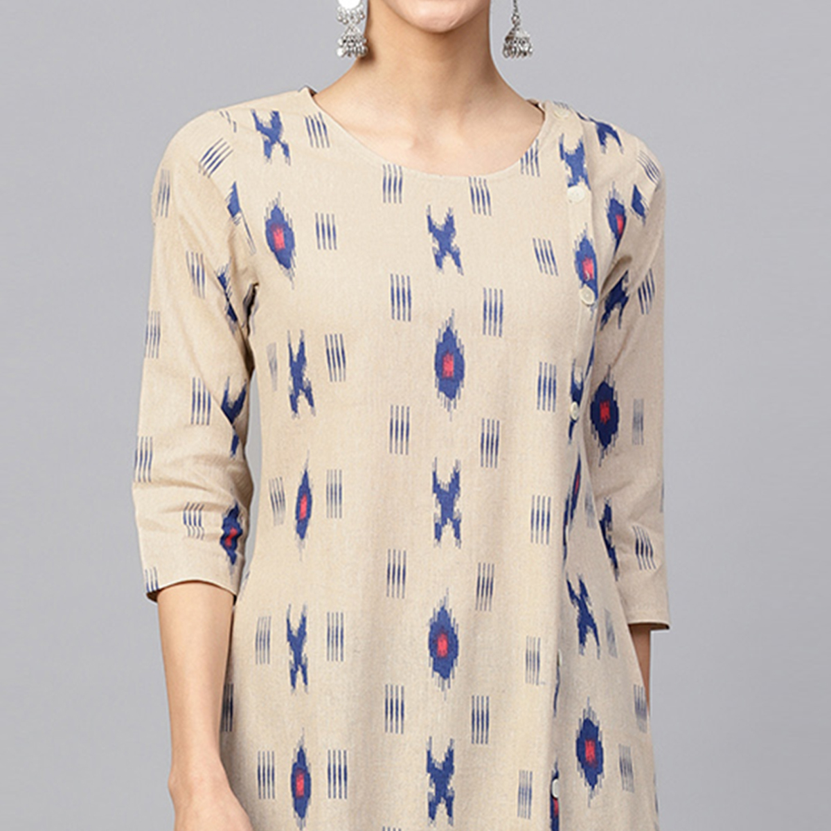 Graceful Beige Colored Casual Printed Cotton Kurti