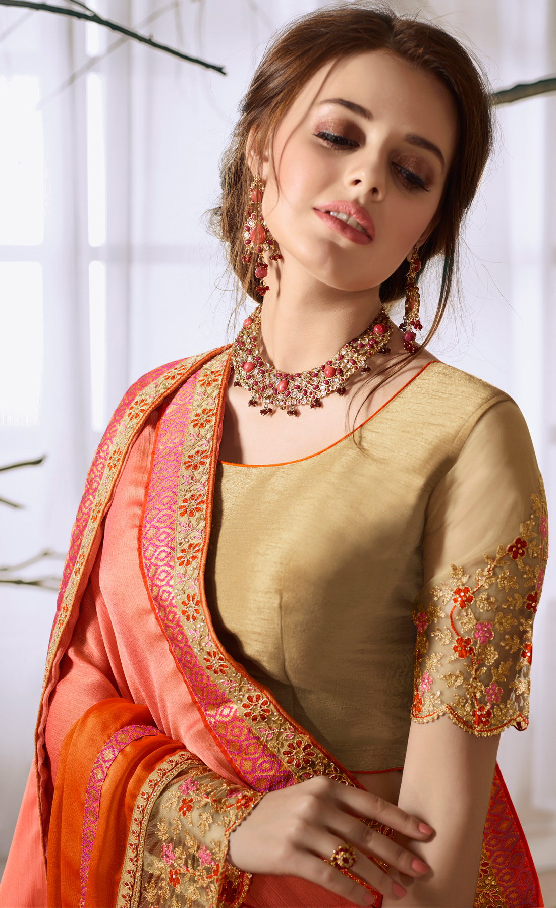 Pink-Orange Designer Partywear Embroidered Moss Chiffon Saree