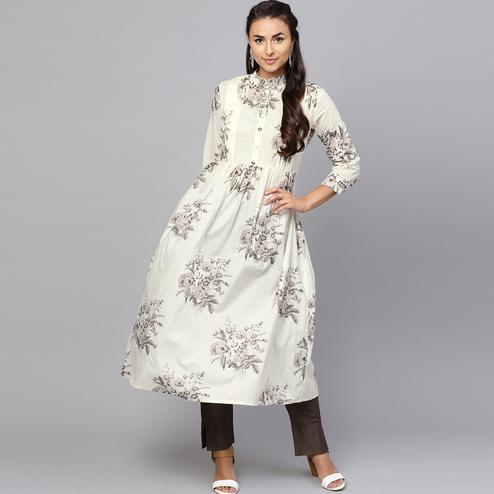 Majesty Off White Colored Casual Printed Cotton Kurti