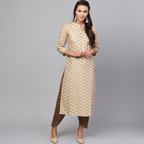 Impressive Beige Colored Casual Printed Cotton Kurti
