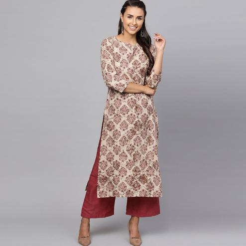 Pleasance Beige Colored Casual Printed Cotton Kurti