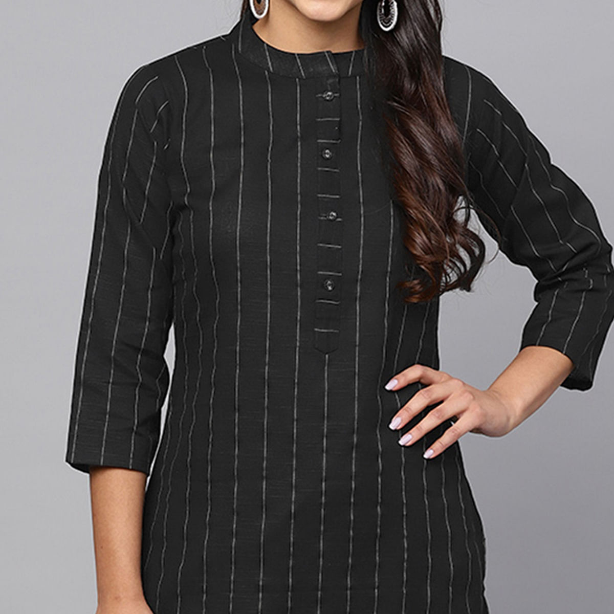 Breathtaking Black Colored Casual Printed Cotton Kurti