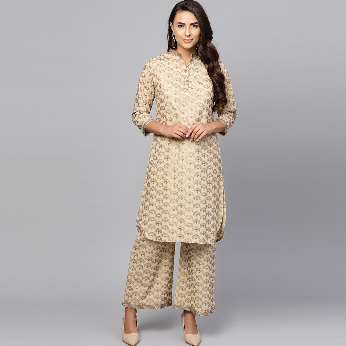 Sensational Beige Colored Casual Printed Cotton Kurti And Bottom Set
