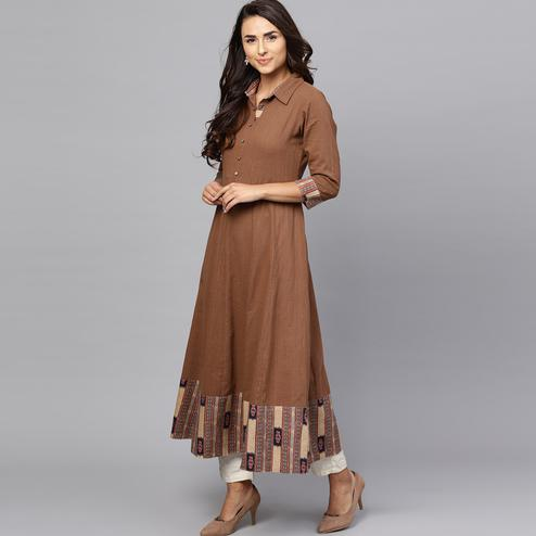 Stunning Brown Colored Casual Printed Cotton Kurti