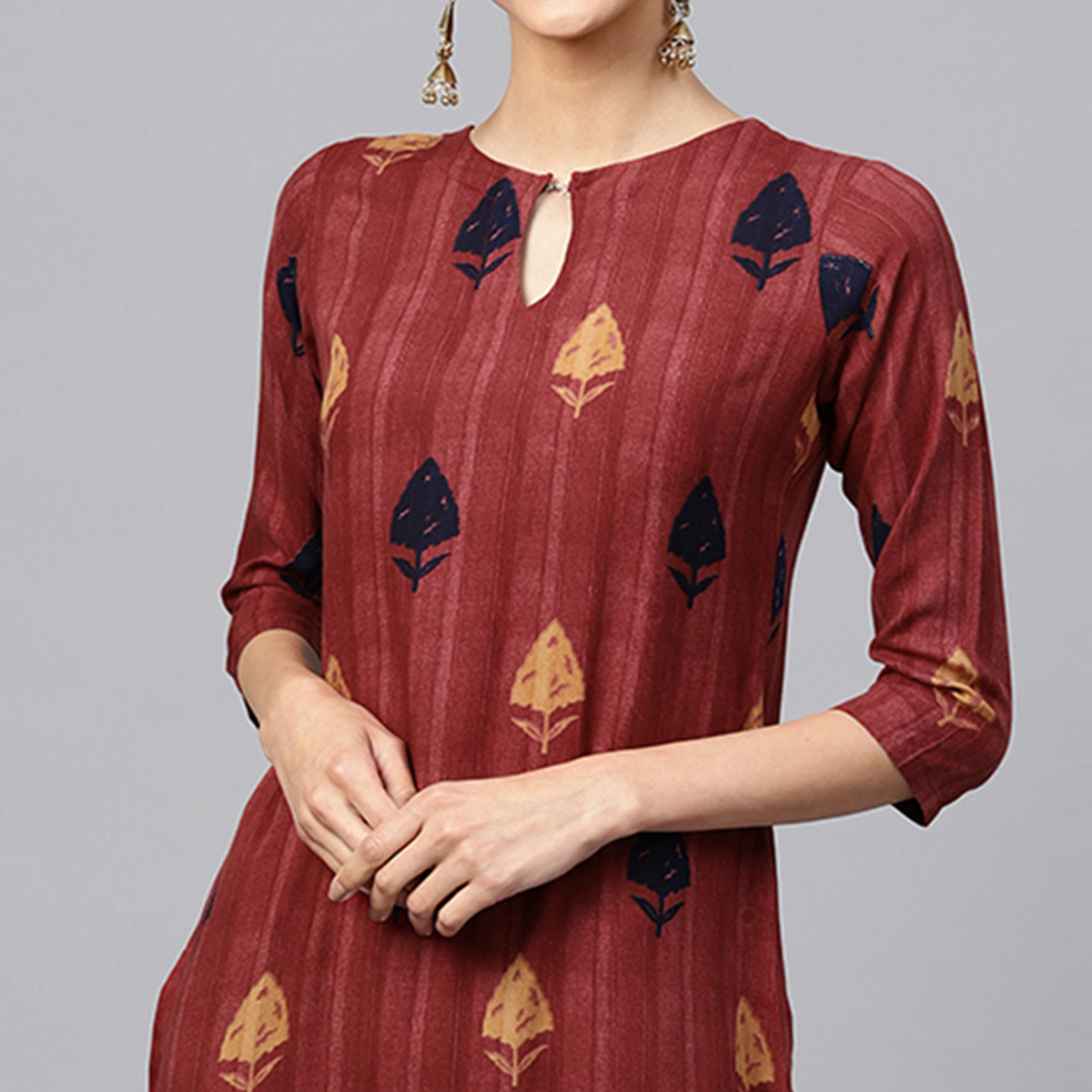 Excellent Maroon Colored Casual Printed Rayon Kurti