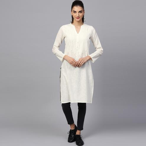 Classy Off White Colored Casual Wear Cotton Kurti