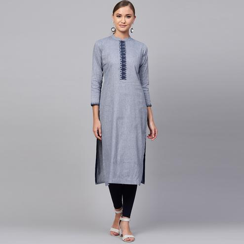 Sensational Gray Colored Casual Wear Cotton Kurti