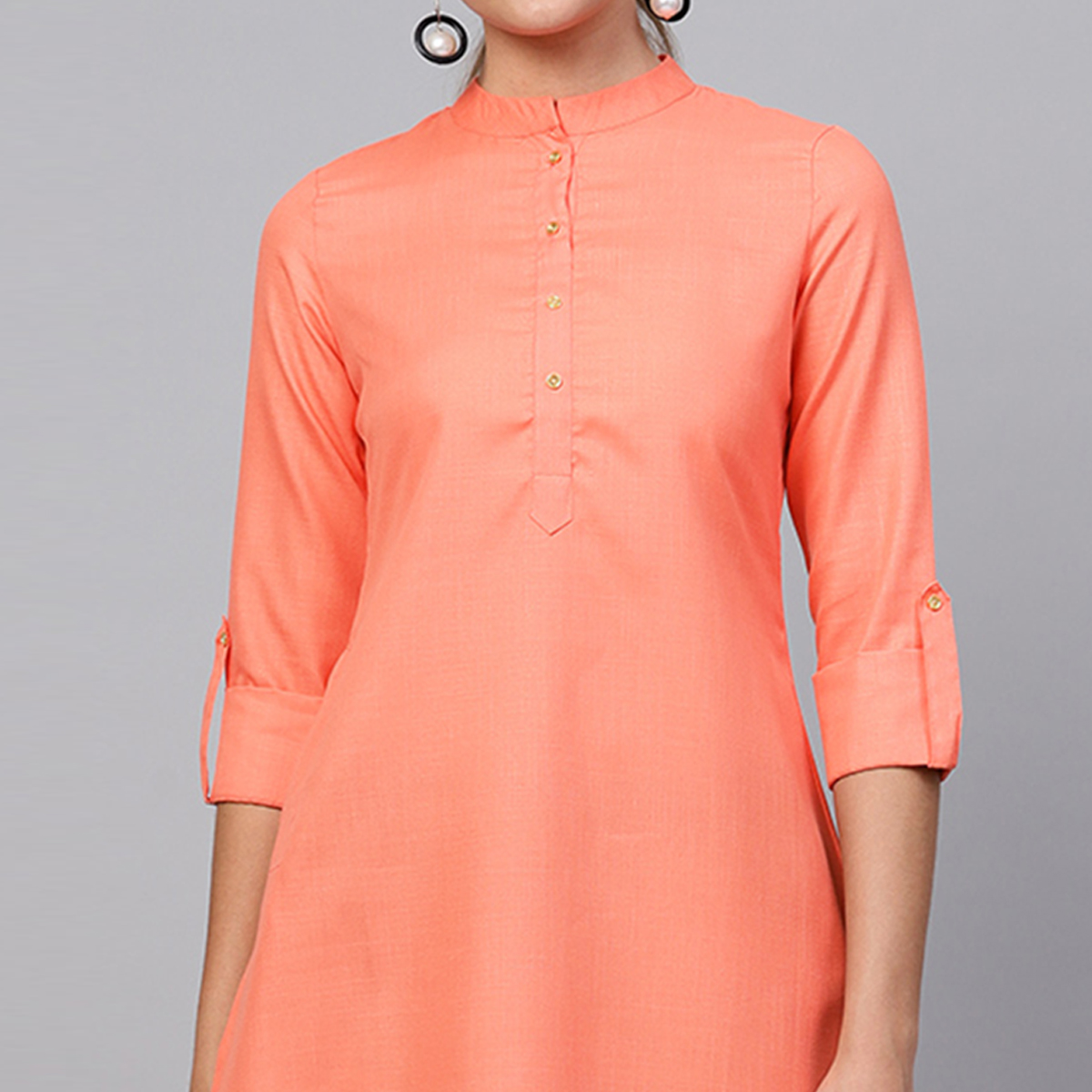 Flaunt Orange Colored Casual Wear Cotton Kurti
