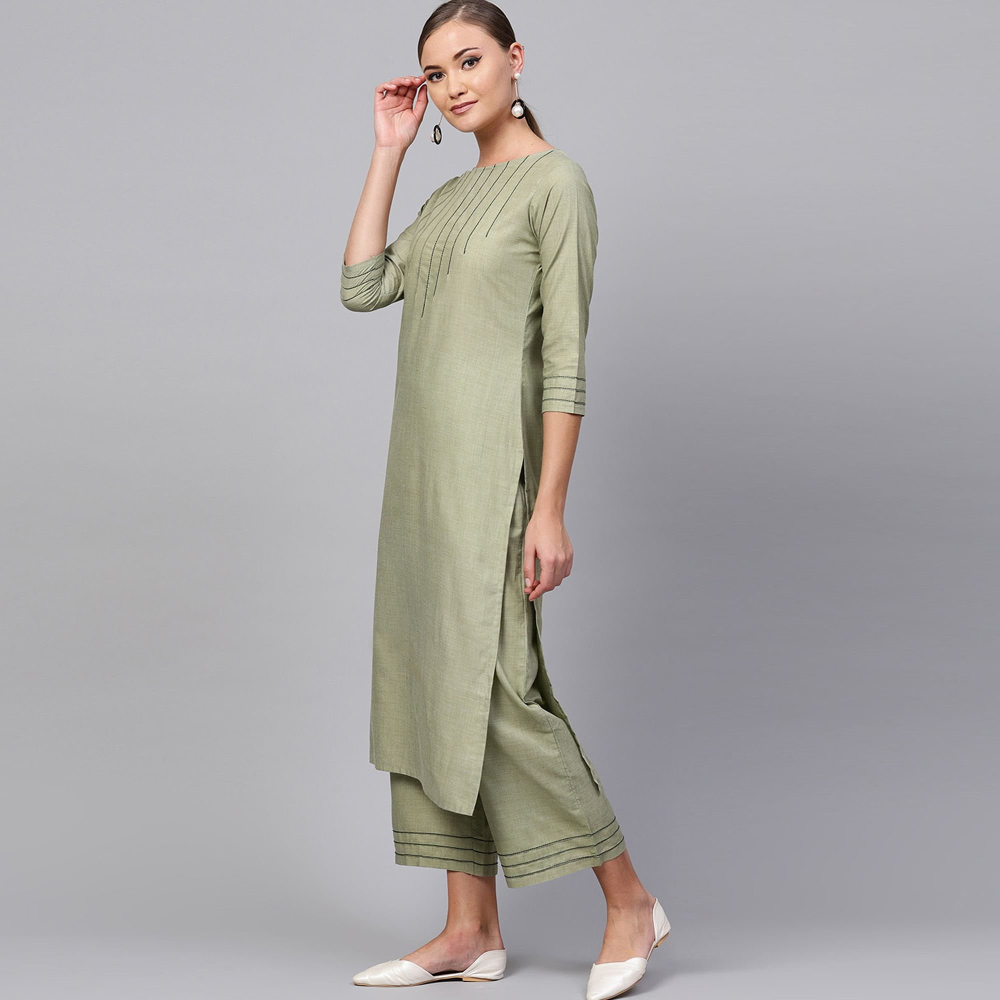 Flirty Light Olive Green Colored Casual Wear Cotton Kurti