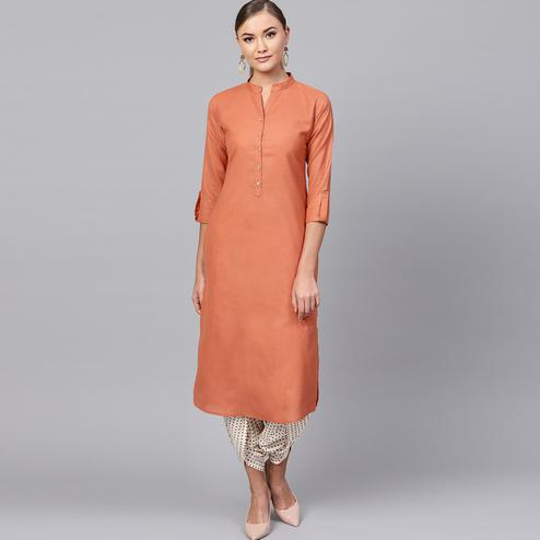 Beautiful Orange Colored Casual Wear Cotton Kurti