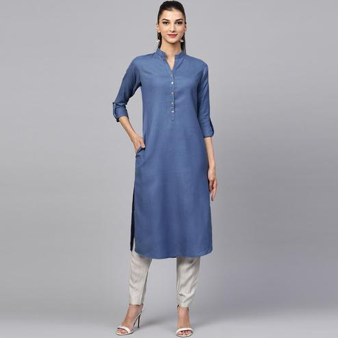 Jazzy Steel Blue Colored Casual Wear Cotton Kurti