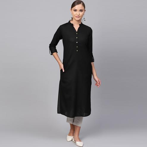 Delightful Black Colored Casual Wear Cotton Kurti
