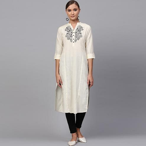 Innovative Off White Colored Casual Wear Cotton Kurti