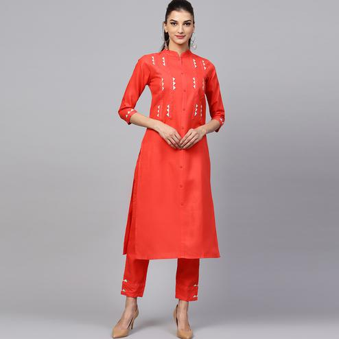 Fantastic Dark Orange Colored Casual Wear Cotton Kurti